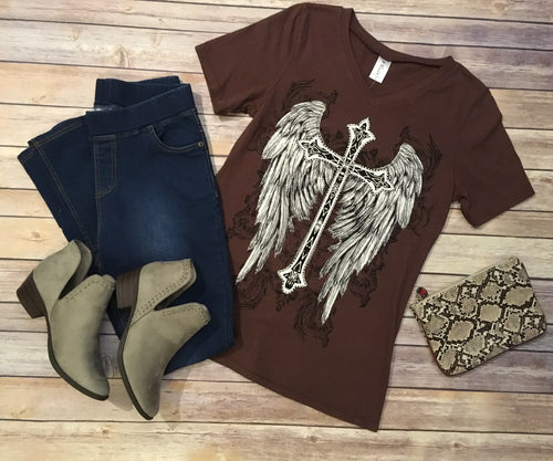 Cross with Angel Wings Graphic Tee **XL-3X**