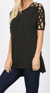 Strap Detail Slv Top BLACK **3X**