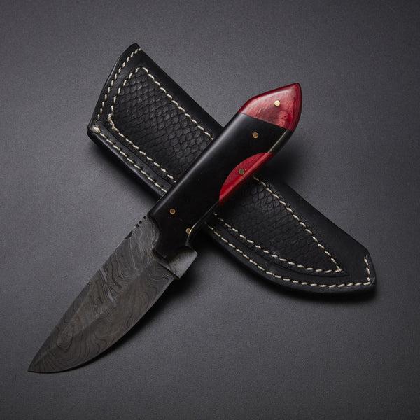 CUSTOM HANDMADE DAMASCUS SKINNER KNIFE WITH LEATHER SHEATH