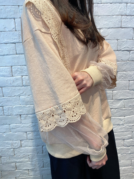2001026 SH side & sleeves lace top - BEIGE