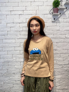 2002011 SS cookie monster head tee - BEIGE