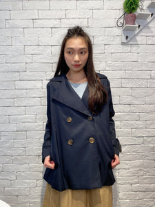2002013 IN back ruffle trench jacket - NAVY