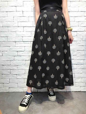 2007058 JP trees wide pants -Black