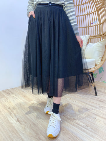 2101067 JF Button Tulle Skirt - Black