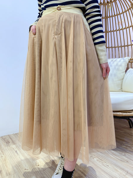 2101067 JF Button Tulle Skirt - Beige