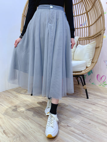 2101067 JF Button Tulle Skirt - Charcoal