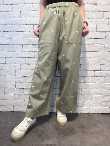 2009057 JF Swan Embroidery Pants - GREEN