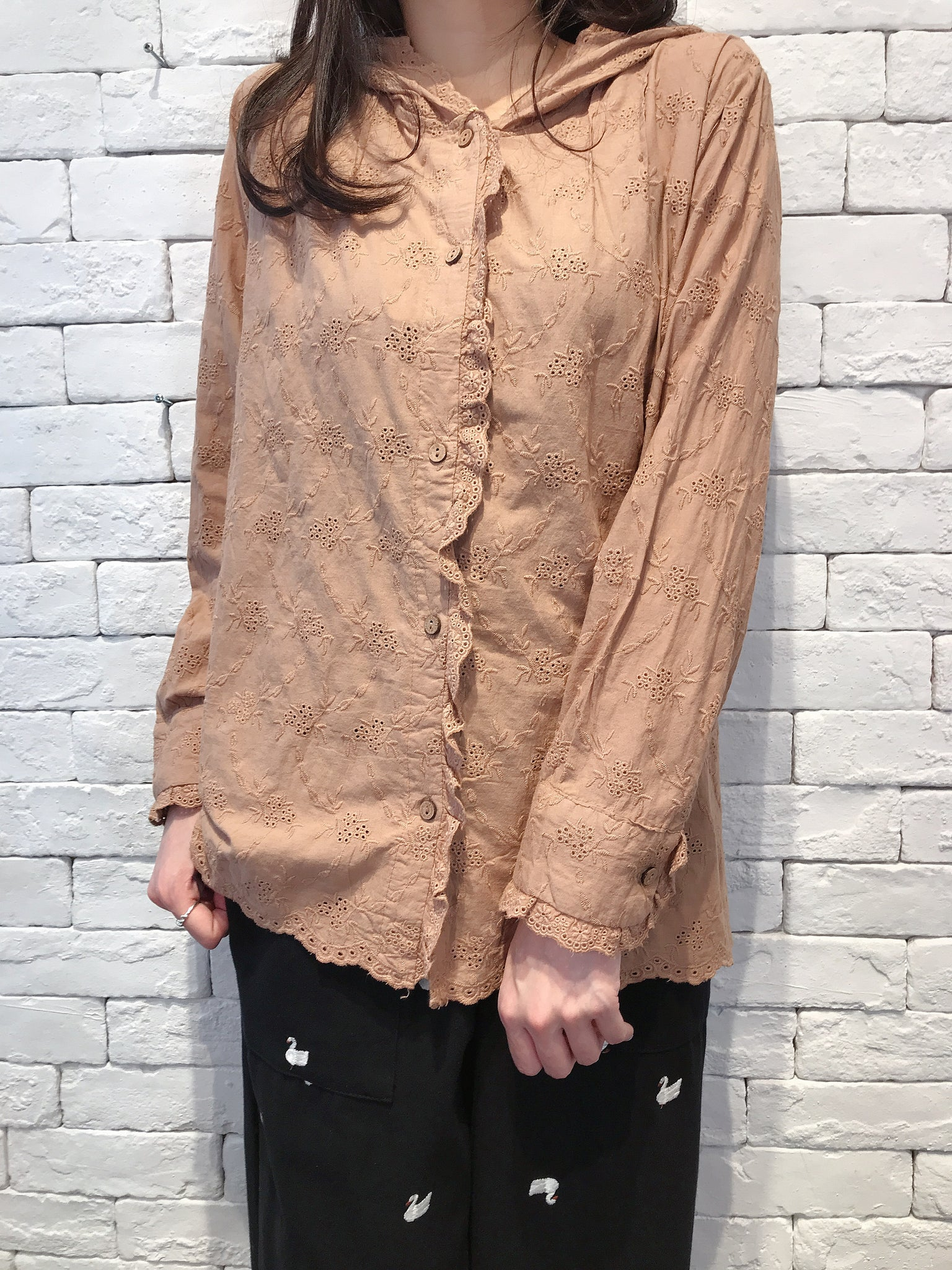 2009061 JF Hooded Open Work Blouse - BROWN