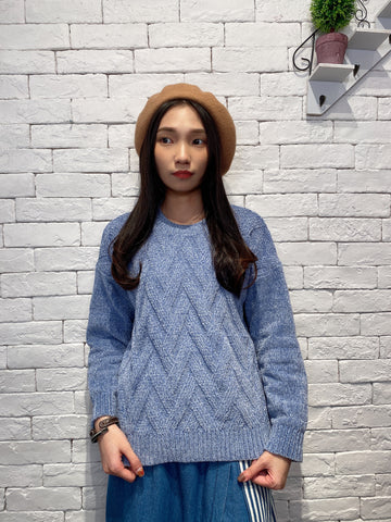 2001030 DD velvet sweater - BLUE