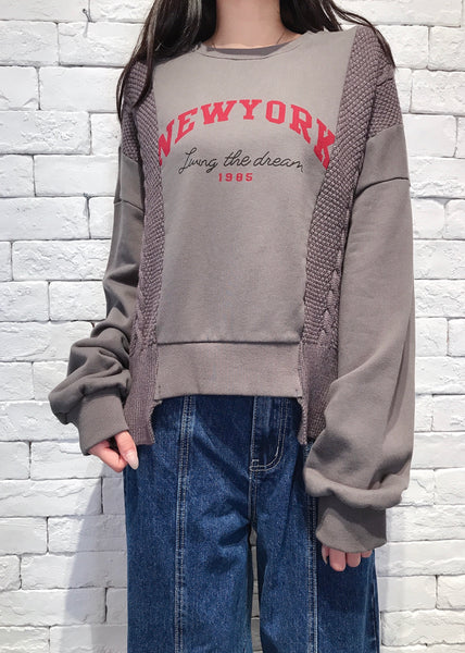 2010060 JF NY Patchwork Words Pullover - Grey
