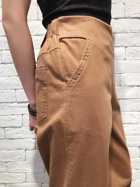 2010048 KR White Line Wide Pants - Mustard