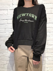 2010060 JF NY Patchwork Words Pullover - Black