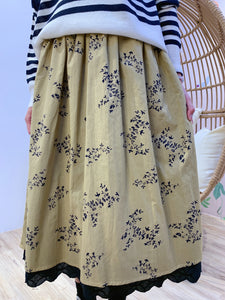 2101032 MMO Floral Skirt - Mustard
