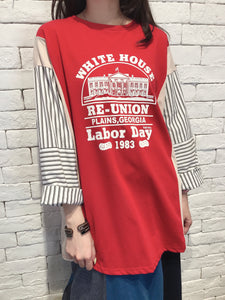 2008041 JF house print striped sleeves tee - RED
