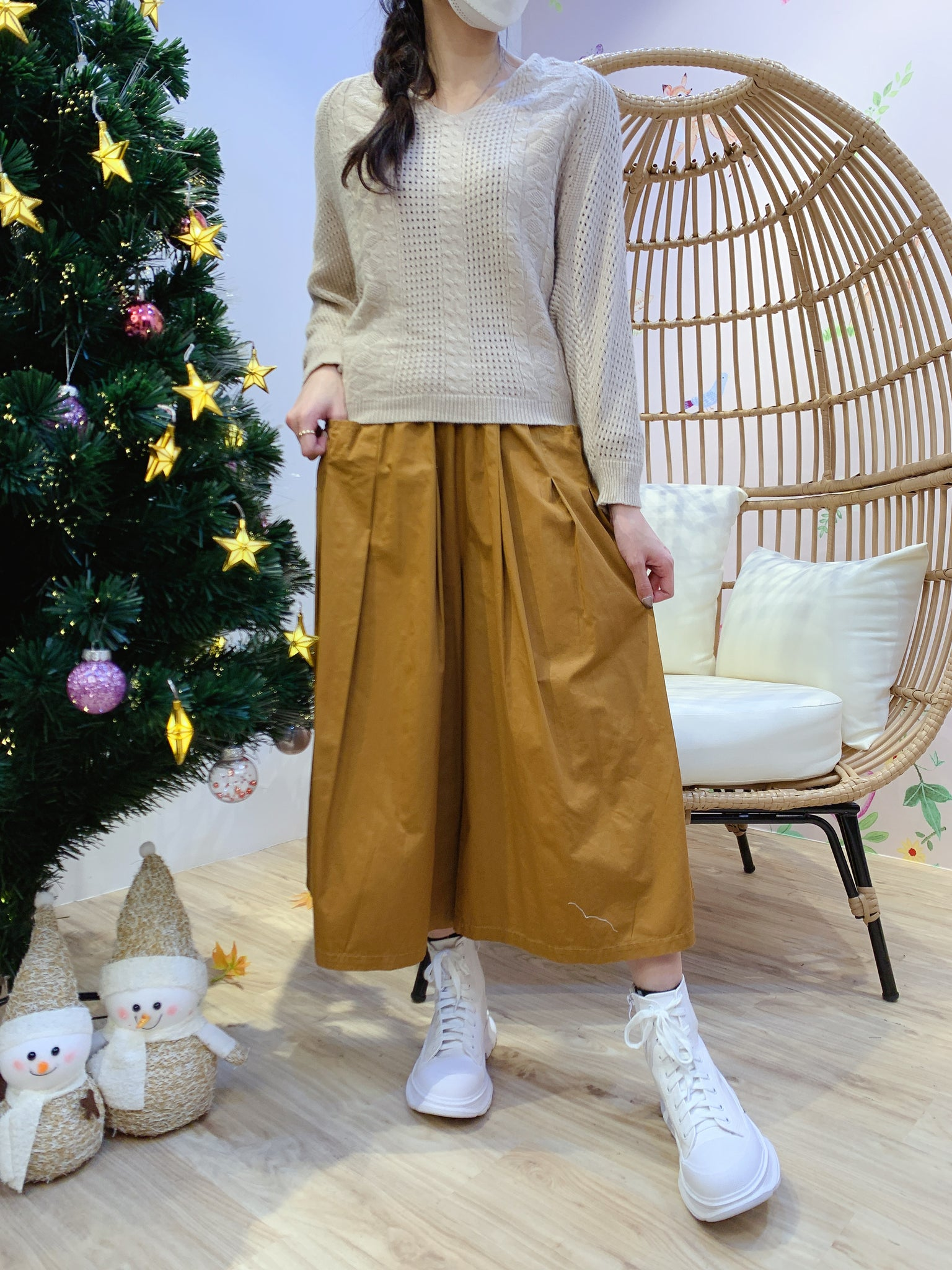 2012035 KR Bat Sleeves Pattern Knit Top - BEIGE