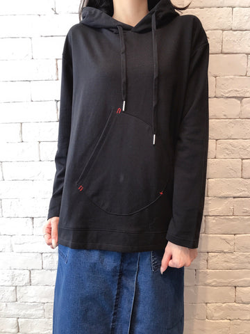 2010078 JF Middle Pocket Hoodie - BLACK