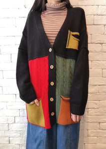 2010073 JF Crazy Colour Cardigan - BLACK