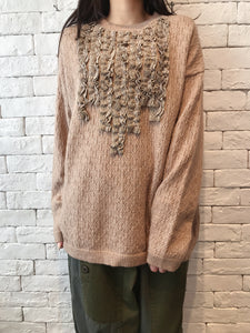 2010065 JF Lace Ruffle Knit Top - MOCHA