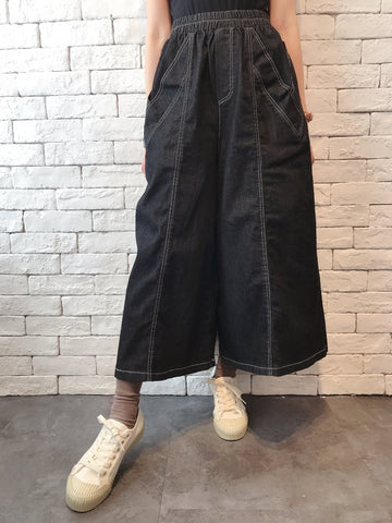 2010074 JF V-shaped Pockets Denim Wide Pants - BLACK