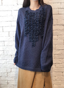 2010065 JF Lace Ruffle Knit Top - NAVY