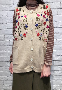 2010067 JF Multi-colour Floral Knit Vest - BEIGE