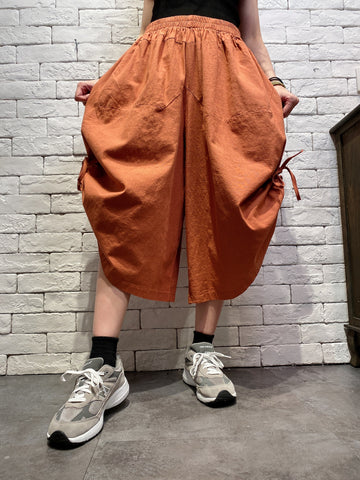 2004055 JF side ribbon wide pants - ORANGE