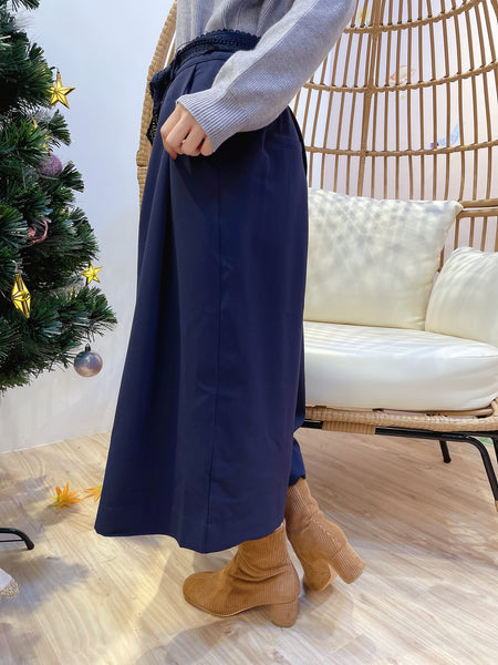 2012049 JF  Crochet Tied Culottes - Navy