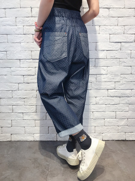 2009088 KR Ruffle Pocket Denim Pants - FLOWERS