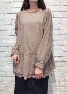 2009086 JF Checked Lace Hem Top - BEIGE