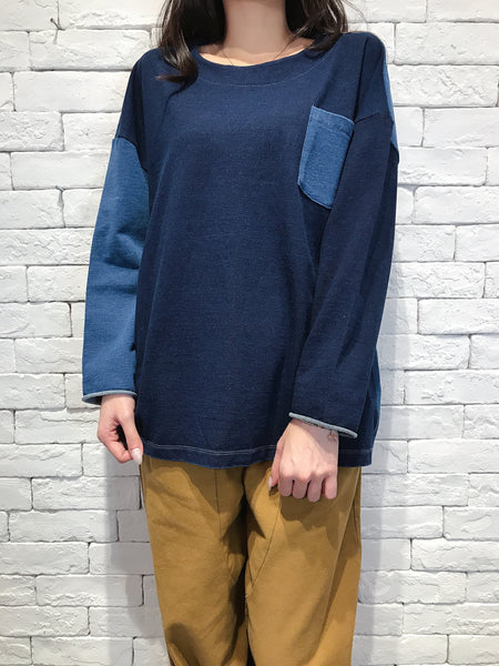 2009076 JP Mixed Denim Top - NAVY