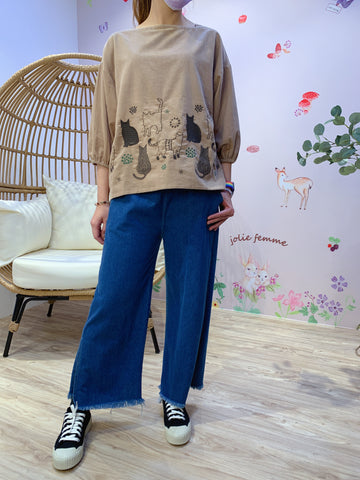 2101034 PO Cat Embroidery Blouse - Beige
