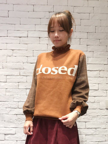 1802020 KR words checked sleeves sweater