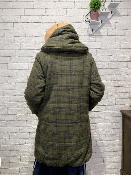 1912077 WT checks hooded long jacket