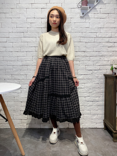 2001006 JF checked lace hem skirt
