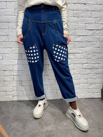 2001007 SP dots denim pants