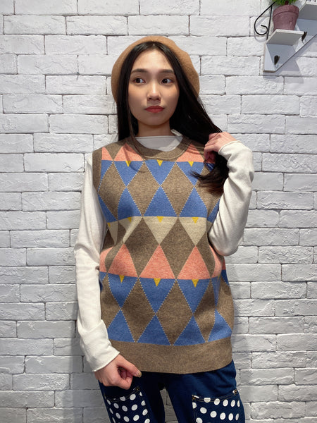 1912054 DD multicolour pattern knit vest - BROWN