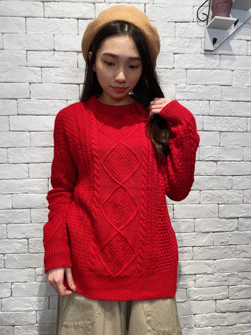 1912078 JF basic cable knit top - RED