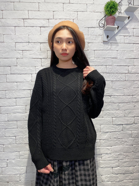 1912078 JF basic cable knit top - BLACK