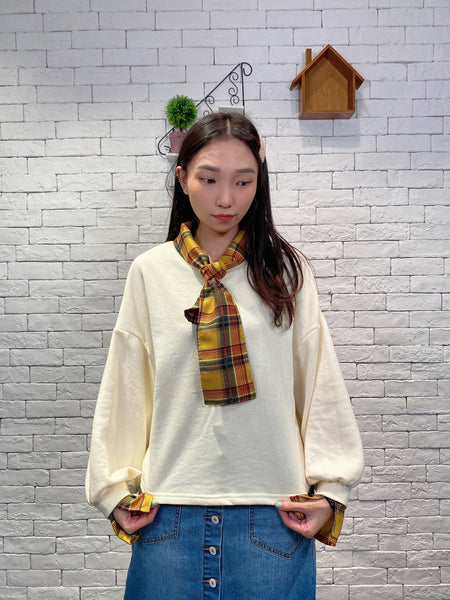 1910089 IF collar and cuff patchwork top