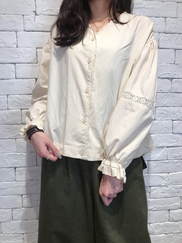 2009012 JF v neck blouse - BEIGE