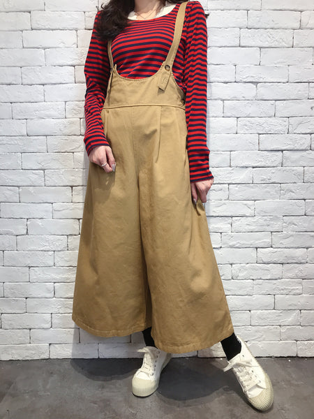 2009011 JF suspender wide pants - BEIGE