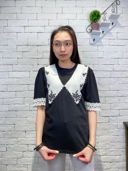2003031 JD embroidered lace top - BLACK