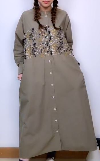 2009046 JP Tri-tone Embroidery Maxi OP - Green