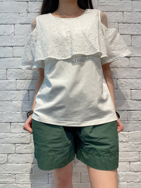 2004111 DD mesh shoulder lace tee -White