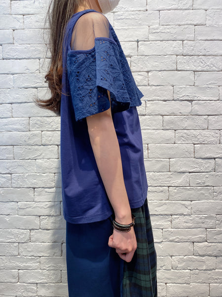 2004111 DD mesh shoulder lace tee -Navy