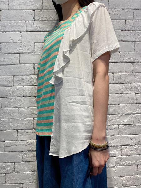 2004118 DD border and white ruffle tee - GREEN