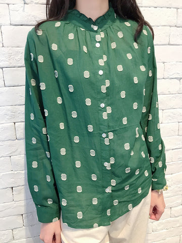 2007093 JF dots blouse - GREEN