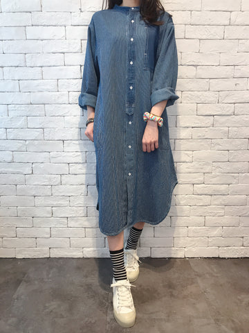 2008077 JP patchwork denim shirt OP -BLUE