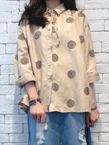 2008073 JP dots lace collar loose shirt - BEIGE