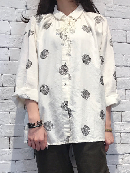 2008073 JP dots lace collar loose shirt - WHITE